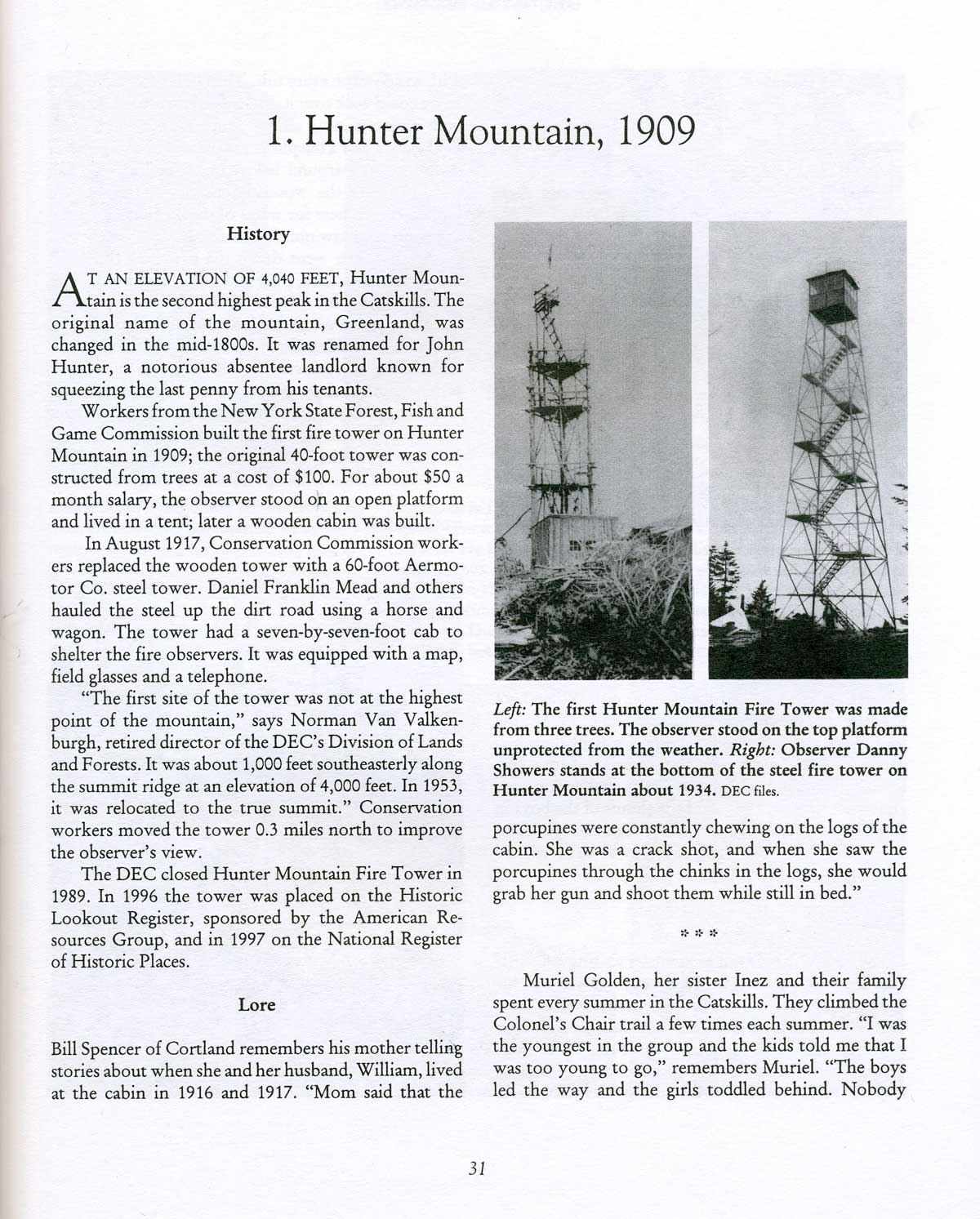 firetowers of the catskills their history and lore chapter samples